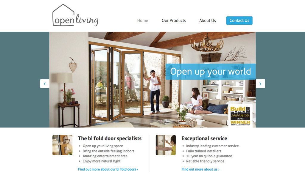 Website design for Open Living