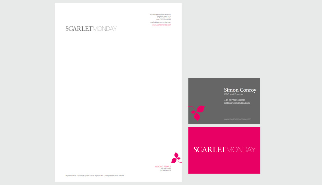 Stationery design for Scarlet Monday