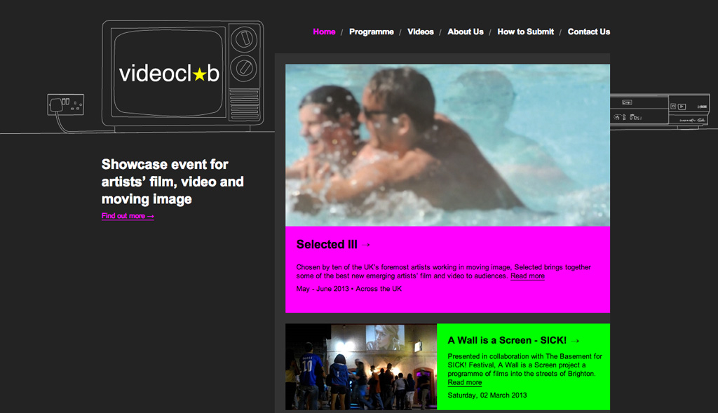 Website design for Videoclub